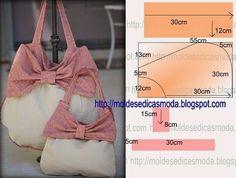 Este saco tem linhas simples e jovem é versátil e prático. Para confecionar este modelo necessita de 70 cm de tecido liso, para o laço 30 cm. O forro pode