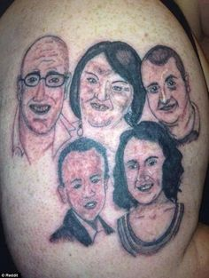 Paying tribute: This person had a family of five tattooed onto his…