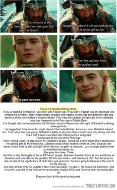 "This :)  Except Legolas' line was, ""What was her gift??"""