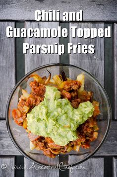 Paleo Chili and Guacamole Topped Parsnip Fries Recipe http://paleomagazine.com/paleo-chili-and-guacamole-topped-parsnip-fries-recipe/ #paleo #gf #glutenfree #recipe #diet