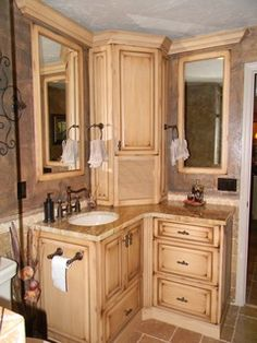 custom master bathroom, with double corner vanity, tower cabinet
