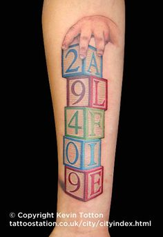 tattoo of kids blocks with letters spelling name tattoos cosmic colors pinterest kids. Black Bedroom Furniture Sets. Home Design Ideas