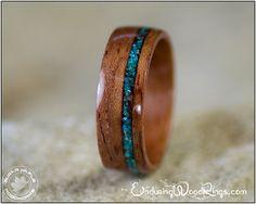 Bubinga wood with Chrysocolla Inlay. Often confused for turquoise, chrysocolla is a beautiful aquamarine gemstone.