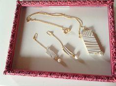 Collana in legno e perle bianco e oro - nacklace white and gold