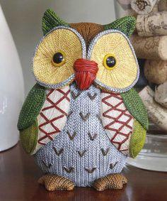 Look at this #zulilyfind! Dark Green & Blue Knit Owl Figurine by Jozie B #zulilyfinds