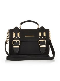 River Island Mini Suedette Satchel Bag - Black The sweetest pick in your handbag stash - this mini suedette satchel bag by River Island is as cute ad they come! The metallic gold deets are perfect for desk to dinner dressing and there's plenty of room for that extra lippy when you just can't chose!Swap your trews and blouse for an LBD and courts for date night with the Mr.Material Content: PUBags Style: Satchel