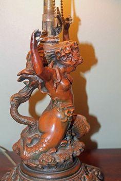RARE VINTAGE ART DECO NAUTICAL MERMAID FIGURAL LAMP- BEAUTIFUL | eBay
