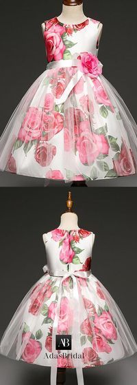 Colorful Tulle & Floral Cloth Jewel Neckline Ankle-length Ball Gown Flower Girl Dresses With Handmade Flowers & Belt