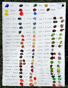 Fine Art Oil Paint Colour Mixing Chart by Stephanie Guy