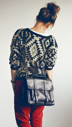 Tribal sweater... Neat, but I think I'm so much more in love with that messenger bag!