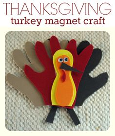 Turkey craft for Thanksgiving { I packed up my Halloween crafts today and unpacked our Thanksgiving ones. This turkey still looks rad and we made him 5 years ago! }