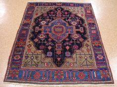 5 x 6 Persian Toieserkan Hand Knotted Wool Traditional Blue Antique Oriental Rug #PersianToieserkanTribalTraditionalGeometric