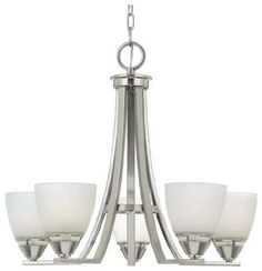 Quoizel IE5005BN Ibsen 21-1/2-Inch 5-Lights Chandelier with Opal Etched Glass, Brushed Nickel