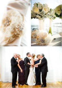 (on top) Love these fabric flora bouquets - lovely and they'll last for always! (bottom) Such a lovely picture idea for both sets of parents and new couple. ~praying for the marriage of my future husbands parents
