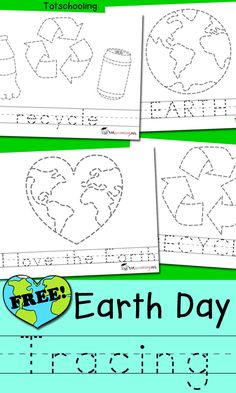 FREE Earth Day tracing sheets including pictures and words that kids can trace. Great for handwriting and fine motor skills. Perfect for preschool or kindergarten Earth Day activity. day crafts for kids preschool recycled art Earth Day Worksheets, Earth Day Activities, Spring Activities, Earth Day Kindergarten Activities, Recycling Activities For Kids, Learning Activities, Kids Learning, Earth Craft, Earth Day Crafts