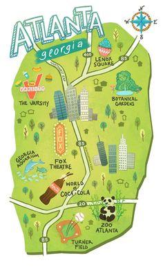 Illustrated maps of Atlanta GA Austin TX and Seattle WA for The UPS Store's campaign in May 2015 Visit Atlanta, Atlanta Travel, Atlanta Zoo, Atlanta Georgia, Map Of Georgia Usa, Georgia Girls, Savannah Georgia, Travel Maps, Travel Usa