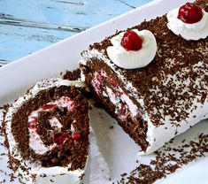 Black Forest Roll Cake from Dairy Goodness Köstliche Desserts, Delicious Desserts, Dessert Recipes, Plated Desserts, Jelly Roll Cake, Chocolate Roll Cake, German Chocolate, Cake Roll Recipes, Kolaci I Torte