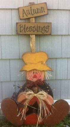 Autumn Blessings Large Sitting Scarecrow $10.50