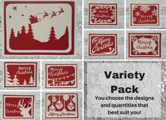 Your place to buy and sell all things handmade Christmas Card Packs, Simple Christmas Cards, Christmas Card Crafts, Christmas Greeting Cards, Handmade Christmas, Merry Christmas, Drawing Programs, Paper Cutting, Red And White