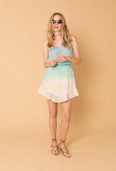 Love at Dawn Strapless Pompom Dress