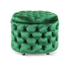 Emma Storage Ottoman Small Emerald