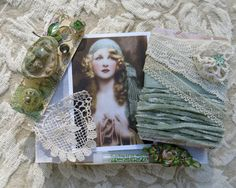Embellishment Inspiration Kit 63, Series 2 ... Mint Green, Gypsy Woman ... Vintage & contemp.adornments for textile arts, crazy quilting...