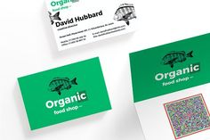 Business Cards | Organic Food Shop by Amber Graphics on @creativemarket Inspirational design of business cards to create effective promoting material and present your brand, logo design, business or company in a photo-realistic way.