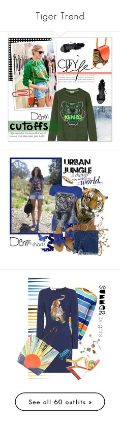 """Tiger Trend"" by yours-styling-best-friend ❤ liked on Polyvore featuring girl, animalprint, tiger, safary, Topshop, Kenzo, jeanshorts, denimshorts, cutoffs and Chicnova Fashion"