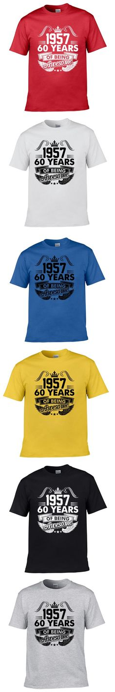 1957 Year 60 Years Of Being Awesome T-shirt Daddy Grandpa Cotton T Shirt Novel Funny Men Tees Tops