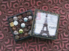 Miniature Box of Chocolates Eiffel Tower French by TheSweetBaker, $13.50