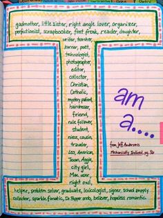 Writers notebook entries - I am a ... (even cute for the beginning of the year)