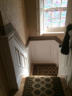 wall panelling on landing and stairs