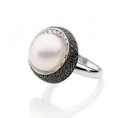 Anel de Ouro Branco com Diamantes e Pérola South Sea Pearl Love, Gemstone Rings, Engagement Rings, Gemstones, Jewelry, Design, Style, White Diamonds, White Gold Rings