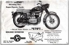 White 250 Shooting Star Advert in Cycle World Cool Motorcycles, Vintage Motorcycles, White Motorcycle, Motorcycle Posters, Vintage Motocross, Super Sport, Shooting Stars, Cycling, Emu