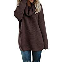 1fa72b92173 Pxmoda Women s Casual Long Sleeve Turtleneck Knit Sweater Chunky Oversized Pullover  Jumper