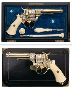 Magnificent cased, gold and silver plated, and engraved exhibition quality French pinfire revolver.  Includes ivory grips and ivory handled accessories.