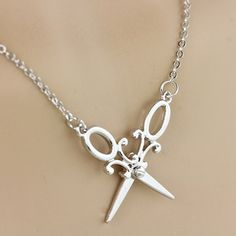 Necklace Cubic Scissors in Silver Tone and rhinestone studs