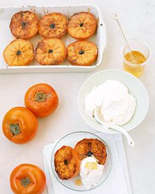 When fully ripe, persimmons have a glossy red-orange skin, similar to tomatoes', and a tangy-sweet flavor. They are available at most markets from October through March; choose fruit that is plump and slightly soft but not at all mushy.