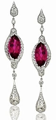 Vanadzor Ruby and Diamond Ear Pendants