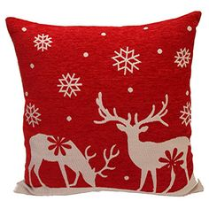 Handmade cotton pillow with a deer motif.  Product: PillowConstruction Material: Cotton cover and down-feather fill