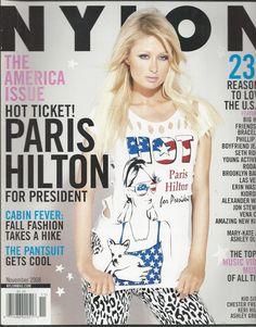 Nylon fashion magazine Paris Hilton The America issue Fall fashion Pantsuit
