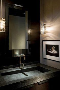 Powder room - love the pendant lights
