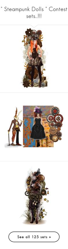 """"""""""" Steampunk Dolls """" Contest sets...!!!"""" by catyravenwood ❤ liked on Polyvore featuring art, witch, steampunk, steam, aviator, plane, flying, futuristic, doll and dolls"""