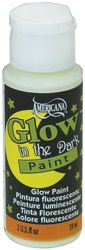 Americana Glow-in-the-Dark Paint  will add luminescence to most surfaces when charged with light. May be used alone or mixed with lighter colors of acrylics. Ideal for Halloween crafts, adding stars to the walls of kids' rooms, and decorative painting highlights.    Medium must be mixed with the paint appropriate for the chosen surface.