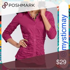 NWT Ruched Fuchsia Poplin Career Top Size M/10 Brand New! Stretch poplin shirt in a rich fuchsia (Shiraz) color with figure-flattering ruching around the midsection. 3/4 length sleeves and button-down styling. Cotton/spandex. Size Medium or 10. A pretty top! Tops Button Down Shirts