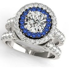 10K White Gold Plated Double Frame Round Cut Diamond  Women's Bridal Ring Set #aonedesigns