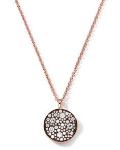 Ippolita 18k Rose Gold Stardust Flower Pendant Necklace with Diamonds (0.88 Carats)