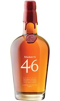Top 10 Bourbon  With the introduction of Maker's 46, the esteemed Kentucky distillery is (quite literally) spicing things up. Borrowing a winemaking process that involves adding staves of seared French oak to the barrels during the aging process, Maker's 46 features a ramped-up flavor intensity and an increased alcohol content (94 proof) when compared with the classic variety (90 proof). On the palate, the Bourbon's spicy blend of vanilla and caramel flavors shine through.     Price: $35