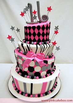 Love the pink and gray! Pink Cake Box cakes are simply amazing!