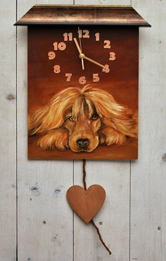 PAINTED CLOCK DOG portrait Hand painted Original by CanisArtStudio